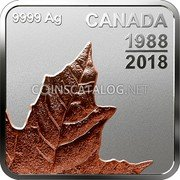Canada 3 Dollars (Maple Leaf Quartet - Thirty Years) CANADA 9999 AG 1988 2018 coin reverse