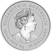 Australia 30 Dollars Year of the Ox 2021P UNC ELIZABETH II AUSTRALIA JC 1KILO 9999 AG 30 DOLLARS coin obverse
