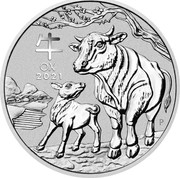 Australia 30 Dollars Year of the Ox 2021P UNC 牛 OX 2021 P IJ coin reverse