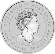Australia 30 Dollars Year of the Ox. Coloured 2021P Proof Coloured ELIZABETH II AUSTRALIA JC 1KILO 9999 AG 30 DOLLARS coin obverse