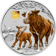 Australia 30 Dollars Year of the Ox. Coloured 2021P Proof Coloured 牛 OX 2021 P IJ coin reverse