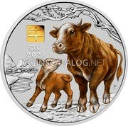 Australia 30 Dollars (Year of the Ox. Coloured) 牛 OX 2021 P IJ coin reverse