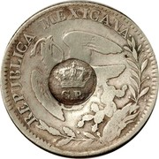 Portugal 300 Reis Countermarked over 2 Reales Mexico ND (1887) G.P. coin obverse