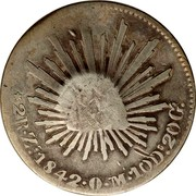 Portugal 300 Reis Countermarked over 2 Reales Mexico ND (1887)  coin reverse