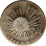 Portugal 300 Reis (Countermarked over 2 Reales Mexico)  coin reverse