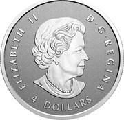 Canada 4 Dollars 25th Anniversary Maple Leaf. Our Arboreal Emblem 2021 ELIZABETH II D G REGINA 4 DOLLARS coin obverse