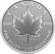 Canada 4 Dollars 25th Anniversary Maple Leaf. Our Arboreal Emblem 2021 9999 9999 1996 2021 CANADA FINE SILVER 1/2 OZ ARGENT PUR coin reverse