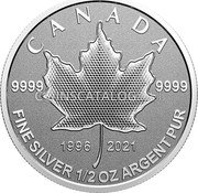 Canada 4 Dollars (25th Anniversary Maple Leaf. Our Arboreal Emblem) 9999 9999 1996 2021 CANADA FINE SILVER 1/2 OZ ARGENT PUR coin reverse