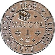 Portugal 40 Reis Countermarked over 1/2 Macuta Angola ND (1871) 1848 AFRICA PORTUGUEZA MACUTA 1 2 coin obverse