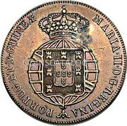 Portugal 40 Reis (Countermarked over 1/2 Macuta Angola)  coin reverse