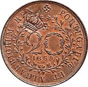 Portugal 40 Reis Countermarked over 20 Reis ND (1871) PORTUGALIÆ ET ALGARBIORUM REX 20 1865 coin obverse