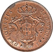 Portugal 40 Reis Countermarked over 20 Reis ND (1871) LUDOVICUS DEI GRATIA coin reverse