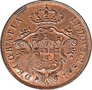 Portugal 40 Reis (Countermarked over 20 Réis)  coin reverse