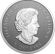 Canada 5 Dollars 25th Anniversary Maple Leaf. Our Arboreal Emblem 2021 ELIZABETH II D G REGINA 5 DOLLARS coin obverse