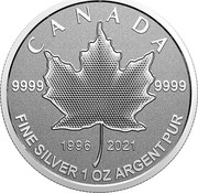 Canada 5 Dollars 25th Anniversary Maple Leaf. Our Arboreal Emblem 2021 1996 2021 9999 9999 CANADA FINE SILVER 1 OZ ARGENT PUR coin reverse