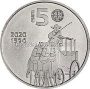 Portugal 5 Euro (500 Years of Portuguese Post Office) EURO 5 2020 1520 coin obverse