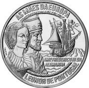 Portugal 5 Euro Leonor de Portugal 1998 X# 72 AS MÃES DA EUROPA LEONOR DE PORTUGAL FREDERICO III DA ALEMANHA coin reverse