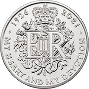 UK 5 Pounds (The Queen's 95th Birthday) 1926 2021 EIIR TN MY HEART AND DEVOTION coin reverse