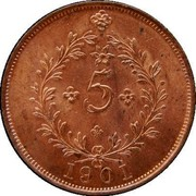 Portugal 5 Reis 1901 KM# 16 Portuguese Administration Provincial coinage 5 1901 coin reverse