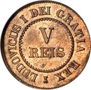 Portugal 5 Reis Luiz I 1863 KM# Pn130 LUDOVICUS I DEI GRATIA REX V REIS coin obverse