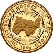 Australia 50 Dollars (The Australian Nugget) 1 OZ. FINE GOLD 1986 THE AUSTRALIAN NUGGET WELCOME STRANGER coin reverse