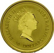 Australia 50 Dollars Whiptail Wallaby 1994 In Sets only KM# 236 50 DOLLARS AUSTRALIA ELIZABETH II coin obverse