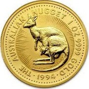 Australia 50 Dollars Whiptail Wallaby 1994 In Sets only KM# 236 1/2OZ. 9999 GOLD THE AUSTRALIAN NUGGET WHIPTAIL WALLABY coin reverse