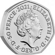 UK 50 Pence (John Logie Baird) ELIZABETH II D G REG F D 50 PENCE 2021 J.C coin obverse