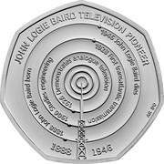 UK 50 Pence (John Logie Baird) JOHN LOGIE BIARD TELEVISION PIONEER 1946 JOHN LOGIE BAIRD DIES 1928 FIRST TRANSATLANTIC TRANSMISSION 1926 DEMONSTRATES ANALOGUE TELEVISION 1906 STUDIES ENGINEERING 1888 JOHN LOGIE BAIRD BORN 1888 1946 AR DO coin reverse