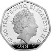 UK 50 Pence The Snowman. Colored 2020 Proof ELIZABETH II D G REG F D 50 PENCE 2020 J.C coin obverse
