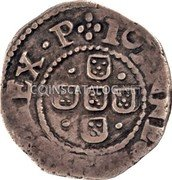 Portugal 50 Reis Kingdom Countermarked coinage (870 Reis) IOANES REX P coin obverse