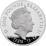 UK 500 Pounds Griffin of Edward III 2021 Proof ELIZABETH II D G REG F D 500 POUNDS J.C coin obverse