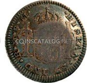 Portugal 60 Reis (Countermarked issue over 1/2 Real Carlos III Mexico) ·HISPAN·ET IND·R·M·F·M· coin reverse