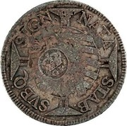 Portugal 600 Reis Countermarked issue over 600 Reis Jose I Brazil ND (1887) NATA STAB SVBQ SIGN coin obverse