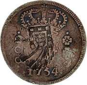 Portugal 600 Reis Countermarked issue over 600 Reis Jose I Brazil ND (1887) 1754 coin reverse