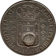 Portugal 600 Reis Countermarked issue over 640 Reis Brazil ND (1887) MARIA I Æ PETRUS III D G PORT REGES Æ BRAS D 17 80 640 coin obverse