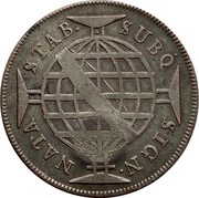 Portugal 600 Reis Countermarked issue over 640 Reis Brazil ND (1887) SUBQ SIGN NATA STAB coin reverse