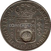 Portugal 600 Reis (Countermarked issue over 640 Réis Brazil)  coin obverse