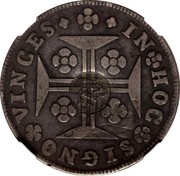 Portugal 600 Reis Countermarked over 1 Cruzado Portugal ND (1887) IN HOC SIGNO VINCES coin obverse