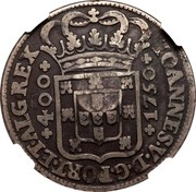 Portugal 600 Reis Countermarked over 1 Cruzado Portugal ND (1887) IOANNES V D G PORT ET ALG REX 400 1750 coin reverse