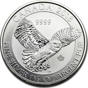 Canada 8 Dollars Snowy Owl 2018 Proof 2018 9999 CANADA FINE SILVER 1 1/2 OZ ARGENT PUR coin reverse