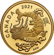 Canada 8 Dollars Triumphant Dragon 2021 ELIZABETH II D G REGINA 8 DOLLARS coin obverse