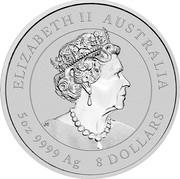 Australia 8 Dollars Year of the Ox 2021P Proof ELIZABETH II AUSTRALIA JC 5 OZ 9999 AG 8 DOLLARS coin obverse