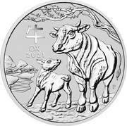 Australia 8 Dollars Year of the Ox 2021P Proof 牛 OX 2021 P IJ coin reverse