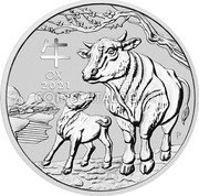 Australia 8 Dollars (Year of the Ox) 牛 OX 2021 P IJ coin reverse