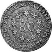 Portugal 80 Reis (Maria II in Exile) KM# Pn3 coin obverse