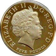 UK Five Pounds (60th Birthday of Prince Charles) KM# 1103c ELIZABETH II D G REG F D FIVE POUNDS coin obverse