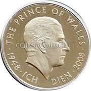 UK Five Pounds (60th Birthday of Prince Charles) KM# 1103c THE PRINCE OF WALES 1948 ICH DIEN 2008 coin reverse