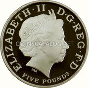 UK Five Pounds (Birth of Prince George of Cambridge) ELIZABETH II D G REG F D IRB FIVE POUNDS coin obverse