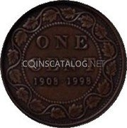Canada One Cent (90th Anniversary of Royal Canadian Mint. Matte) KM# 309 ONE CENT 1908 1998 coin reverse